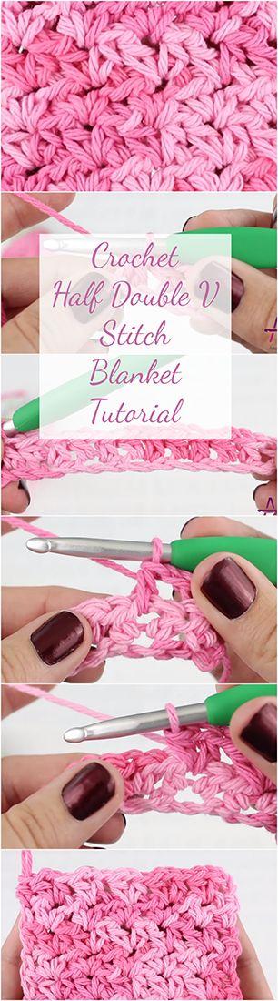 Crochet Half Double V Stitch Blanket Tutorial