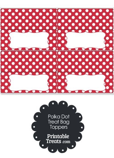 Red and White Polka Dot Treat Bag Toppers from PrintableTreats.com