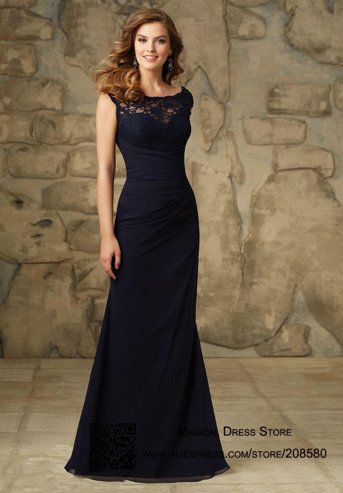 Navy Blue Robe Demoiselle D'honneur Scoop Lace Mermaid Bridesmaid Dress Floor Length Chiffon 2016 Wedding Guest Dresses BM460