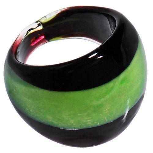 Handmade Striped Green Bold Glass Ring Body Candy. $3.99