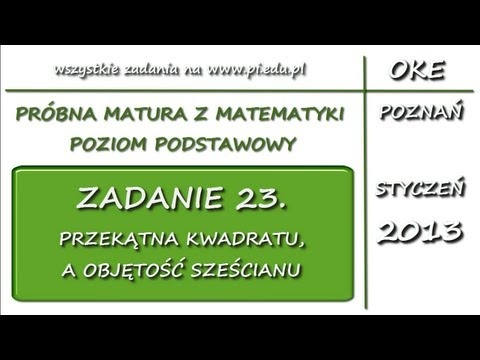 Zadanie 23. Matura próbna, styczeń 2013. PP [Stereometria]