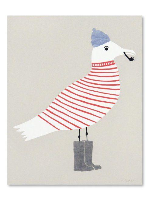 seagulls, pattern, stripes, print, wellies, pipe, sailor, sea side, summer, design, illustration, drawing, bird, shore, nautical