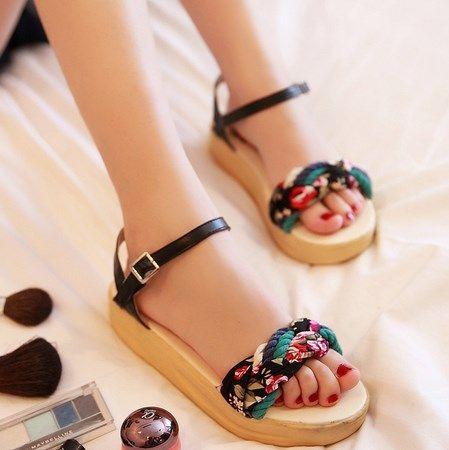 Summer flat platform wedges sandals bohemia sweet comfortable low-heeled shoes women's rollaround plus size US $21.78