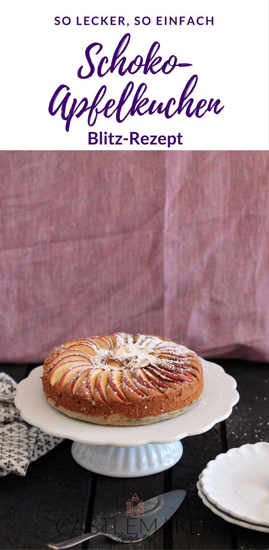 Eine Mischung aus Apfelkuchen und Schokokuchen ist dieses schnelle Rezept für einen Schoko-Apfelkuchen. Perfekt im Herbst und Winter. Ruck-Zuck-Apfelkuchen für die ganze Familie. Das Rezept gibt es auf meinem Blog. #herbstrezept #apfelkuchen
