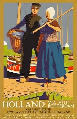 Vintage poster promoting travel to Holland via the cheapest route for residents of Scotland and Northern England