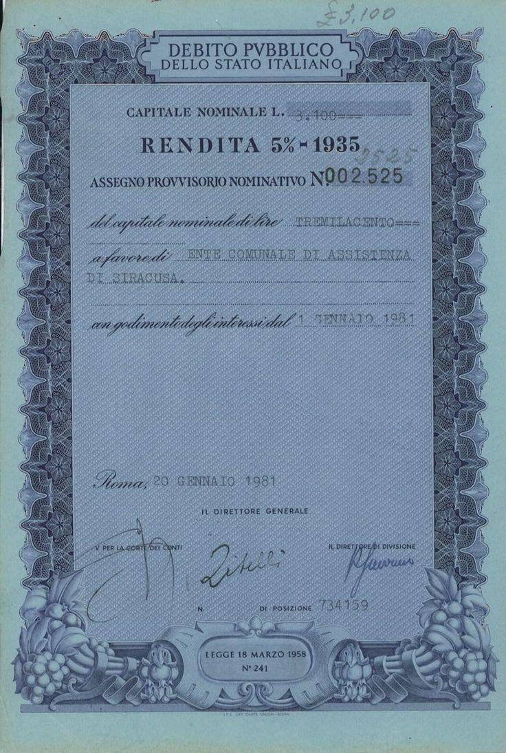 DEBITO PUBBL. DELLO STATO ITALIANO - RENDITA 5% - ASSEGNO PROVV. NOM. - #scripomarket #scriposigns #scripofilia #scripophily #finanza #finance #collezionismo #collectibles #arte #art #scripoart #scripoarte #borsa #stock #azioni #bonds #obbligazioni