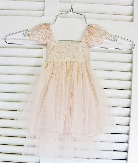 RUE DEL SOL blush flower girl dress French lace and silk tulle dress for baby girl blush princess dress blush  tutu dress
