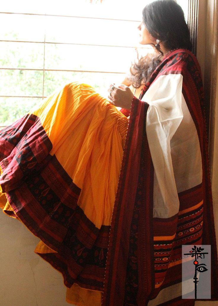 Simple cotton saree with ethnic overtone