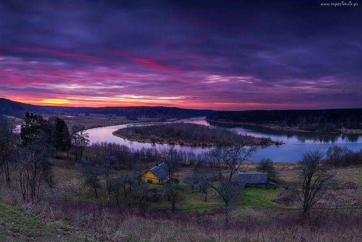 Litwa, Rzeka, Zachód, Słońca, Chatki