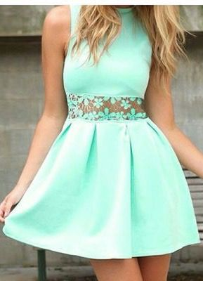 Hot green lace hollow out dress
