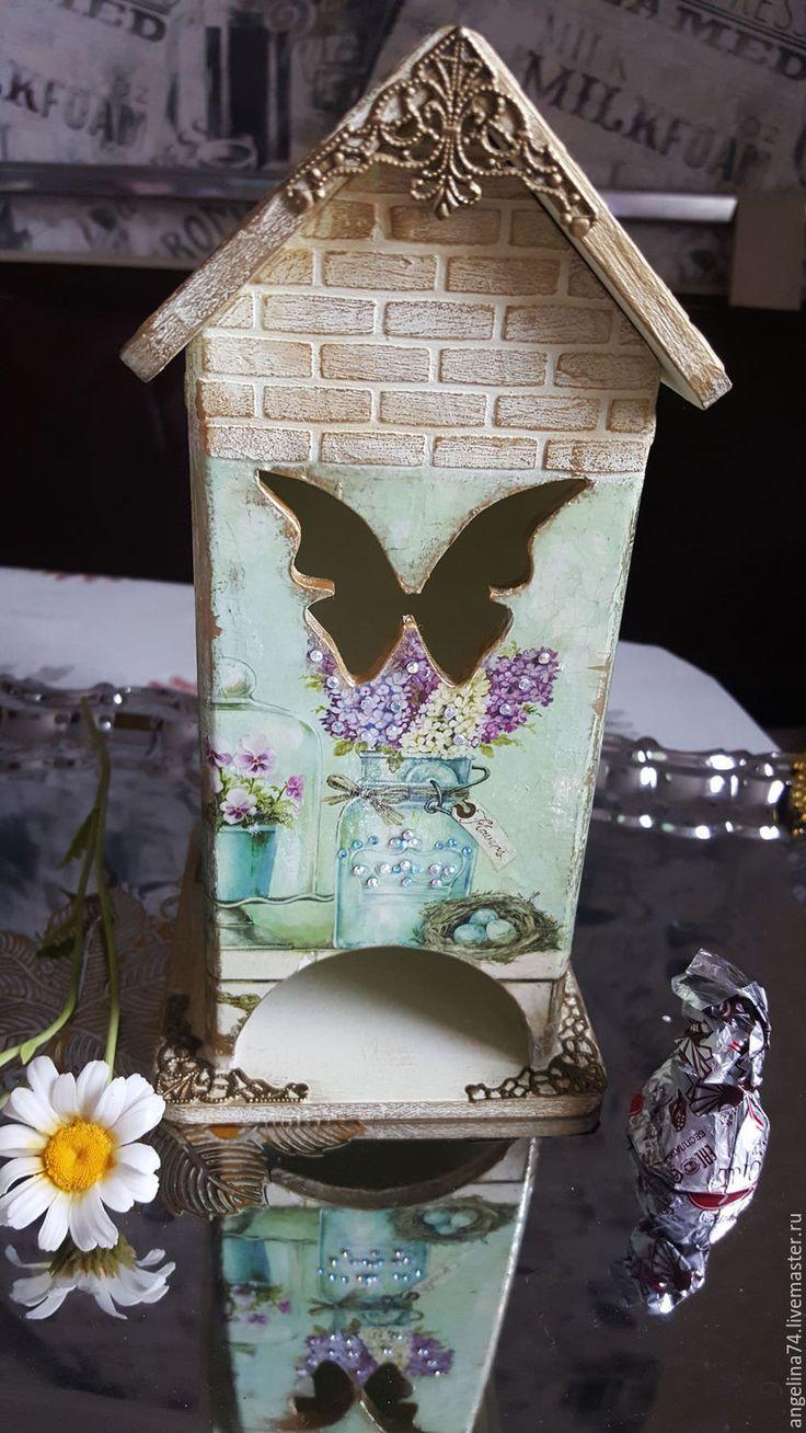 """Купить Домик для чая """"Весна"""" - салатовый, чай, чайный домик, чайный домик декупаж, домик"""
