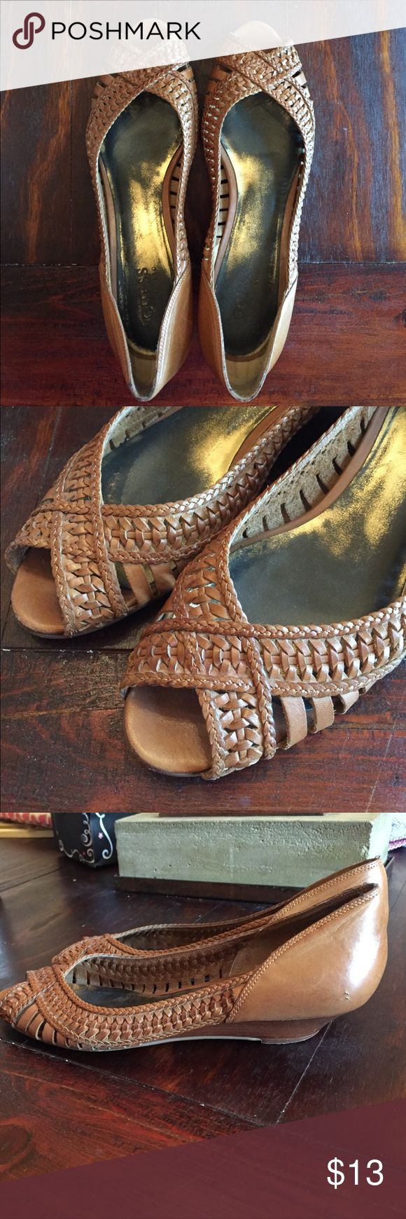 Guess by Marciano braided leather kitten heels Guess by Marciano light brown braided leather kitten heels. Size 8. Fair used condition. Guess by Marciano Shoes Heels