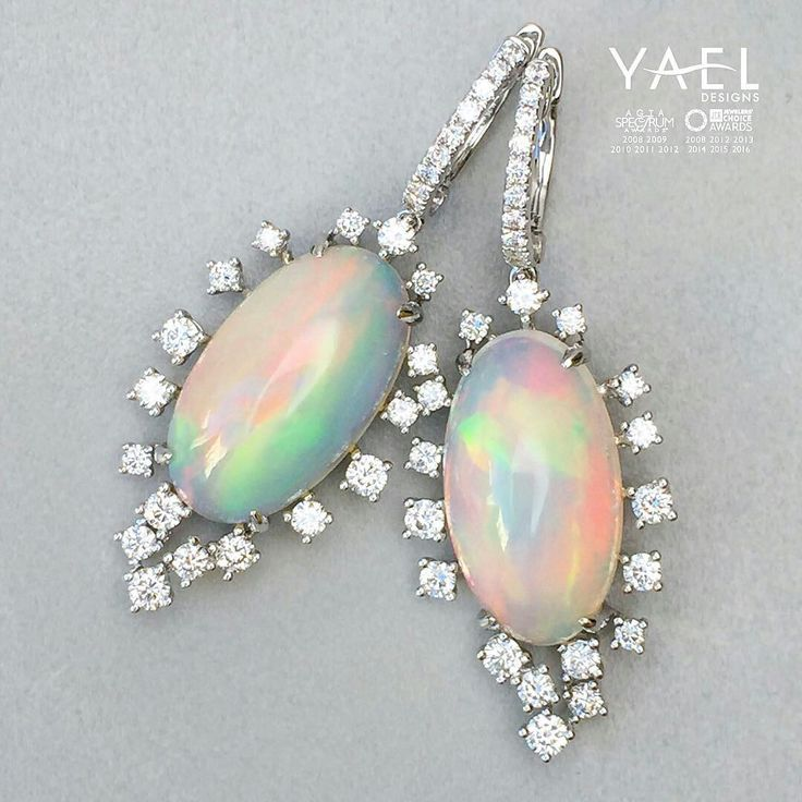 Yael Designs Opal and diamond earrings - http://www.yaeldesigns.com/10802.html