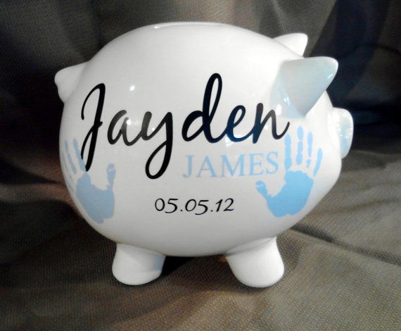 62 best banks images on pinterest piggy banks pork and little pigs piggy bank with name for baby gift baptism gift from grandparents 55 custom name decal newborn baby gift niece nephew birthday gift negle