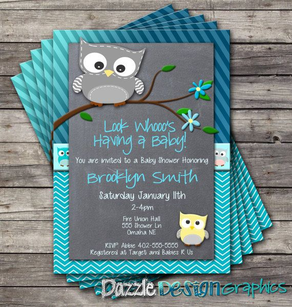 """Chevron Stripes Owl Baby Shower invitation by DazzleDesignGraphics, $12.00  """"Like"""" us on Facebook! http://www.facebook.com/DazzleDesignGraphics"""