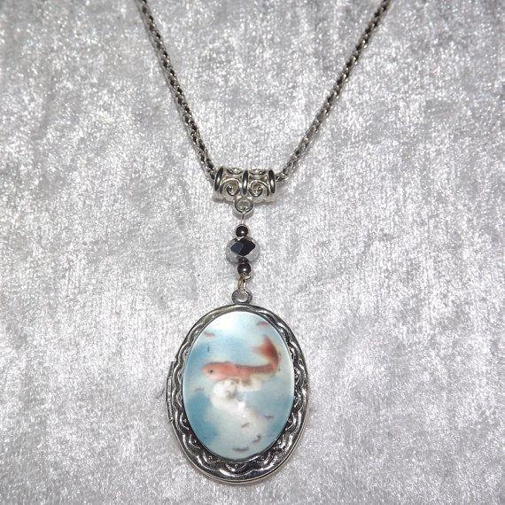 Locket  Koi Mermaid Cabochon Necklace  FREE UK P&P by KasumiCrafts
