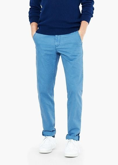 $49, Blue Chinos: Mango Straight Fit Cotton Chinos. Sold by Mango. Click for more info: https://lookastic.com/men/shop_items/312845/redirect