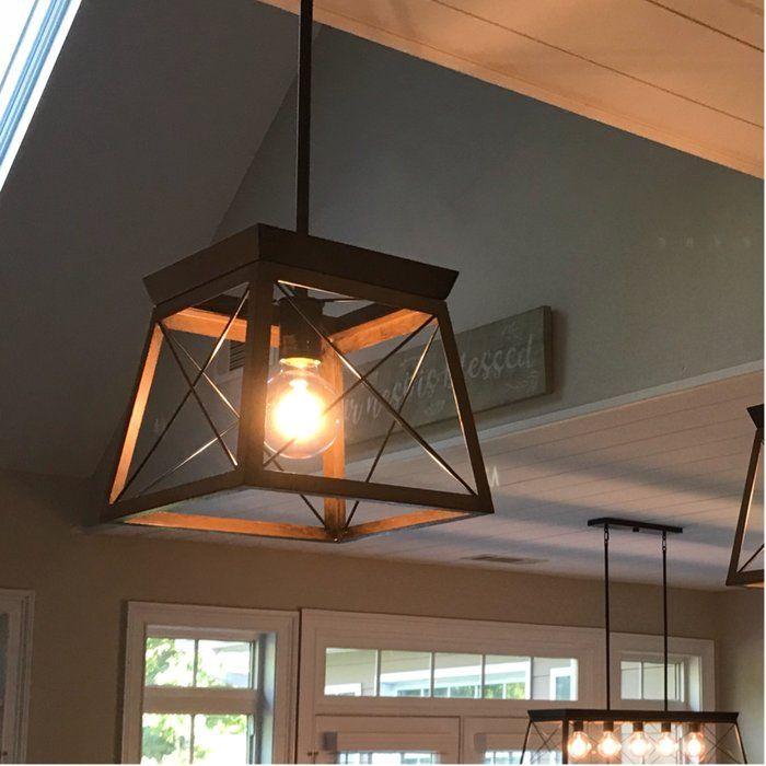 Delon 1 Light Lantern Geometric Pendant In 2020 Entryway Light Fixtures Indoor Lighting Fixtures Farmhouse Pendant Lighting