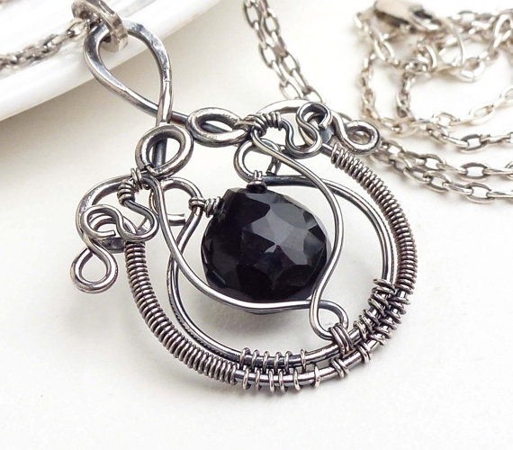 Wire wrap jewelry jet black necklace black by CreativityJewellery, $105.00: Silver Necklaces, Wire Wraps Jewelry, Wire Jewelry, Gemstone Necklaces, Wraps Beads, Beads Necklaces, Black Necklaces, Oxidized Silver, Jets Black