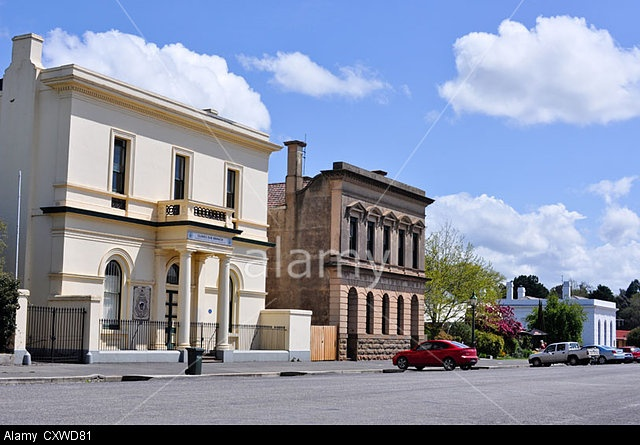Fraser Street, the main street of the historic 1880's gold mining town of Clunes in Central Victoria, Australia.