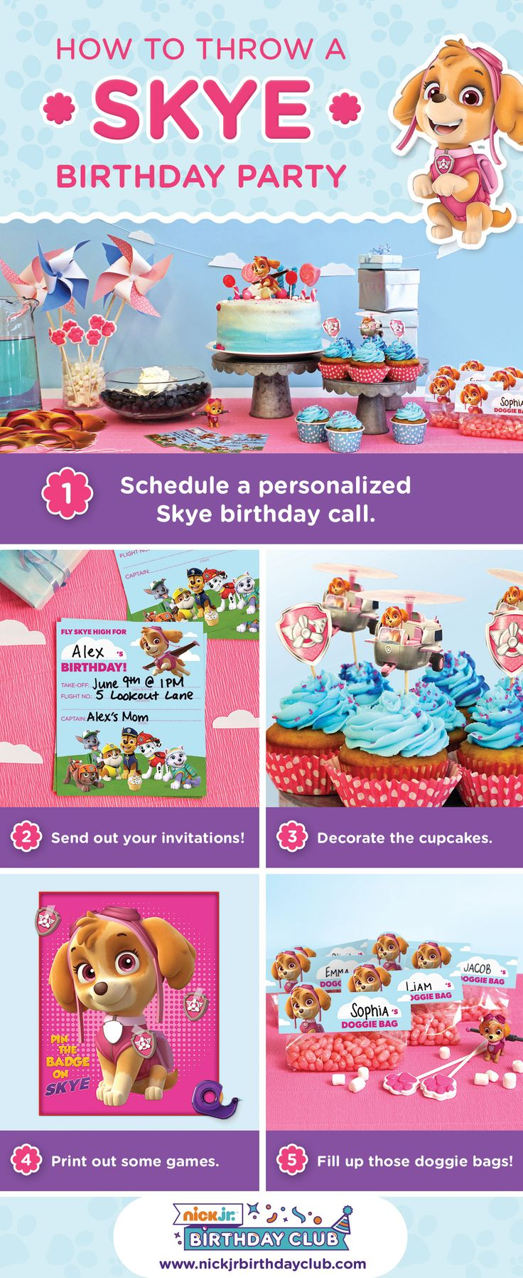 Join the Nick Jr. Birthday Club and schedule a personalized phone call from Skye from PAW Patrol! You'll get free PAW Patrol printable party supplies, Skye birthday party planning ideas and hacks, and so much more! Your child won't believe their luck on their BIG day! You'll never run out of PAW patrol kids birthday party ideas again, and your child will be flying high!