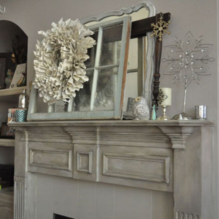 Chalk Painted Fireplace Mantel