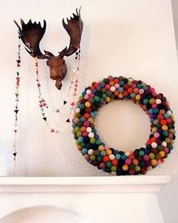 Felt Ball Wreath and Triangle Garland | Pickles