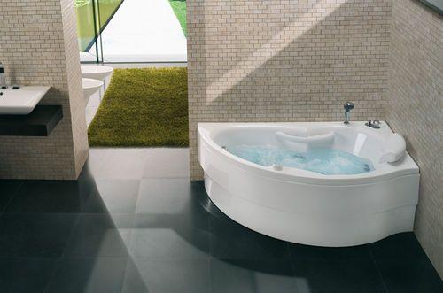 Baignoire poser d 39 angle baln o hera blu bleu salle for Disposition salle de bain