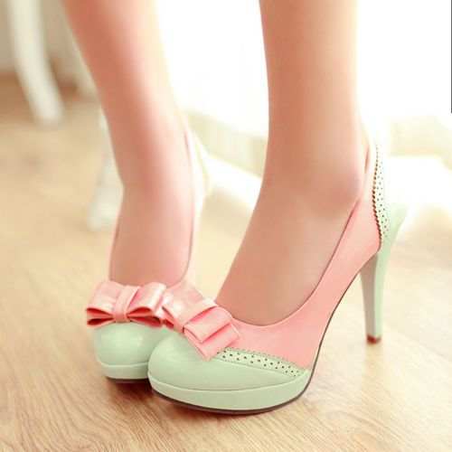 Ladies Lolita Bow Sweet Candy Platform High Heels Leather Pumps Shoes Plus Size