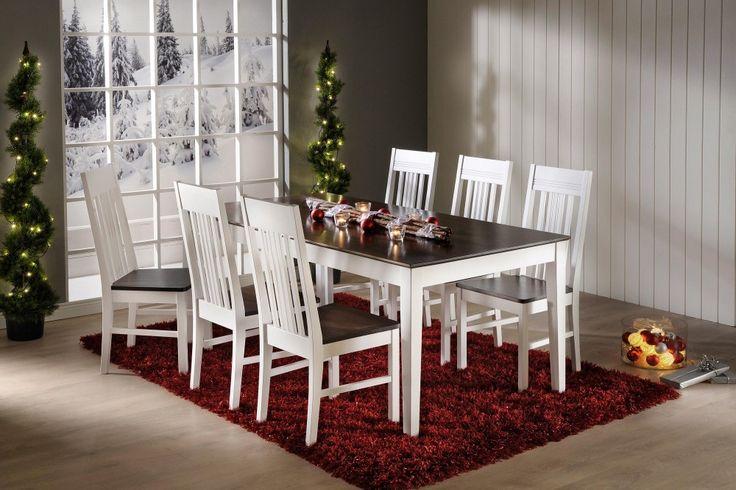 IIRIS-ruokailuryhmä valkoinen/tumma pähkinä (pöytä 170x90cm+6 tuolia)
