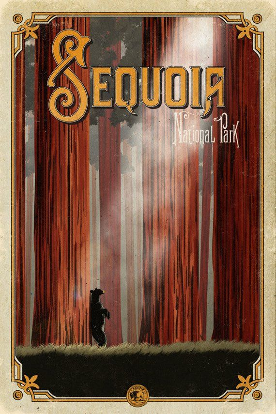 Sequoia poster, Sequoia National Park, California woods , national park poster, Sequoia art print, S