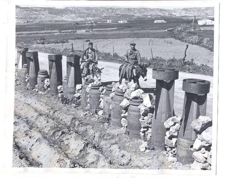 1947 Hράκλειο, πρωτότυπη περίφραξη αγρού με Γερμανικές βόμβες.