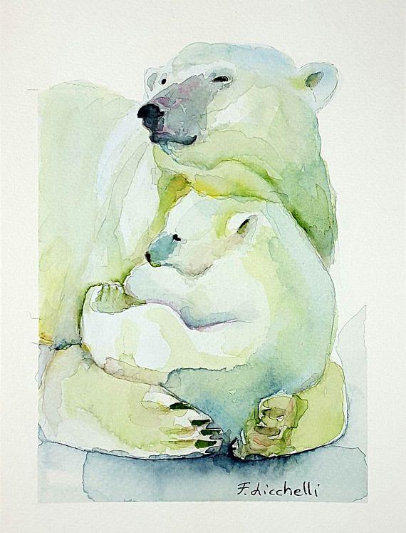Acquerello con Orsi polari, pezzo unico originale, arte per la casa, cameretta bambini, idea regalo per nascita, compleanno e battesimo