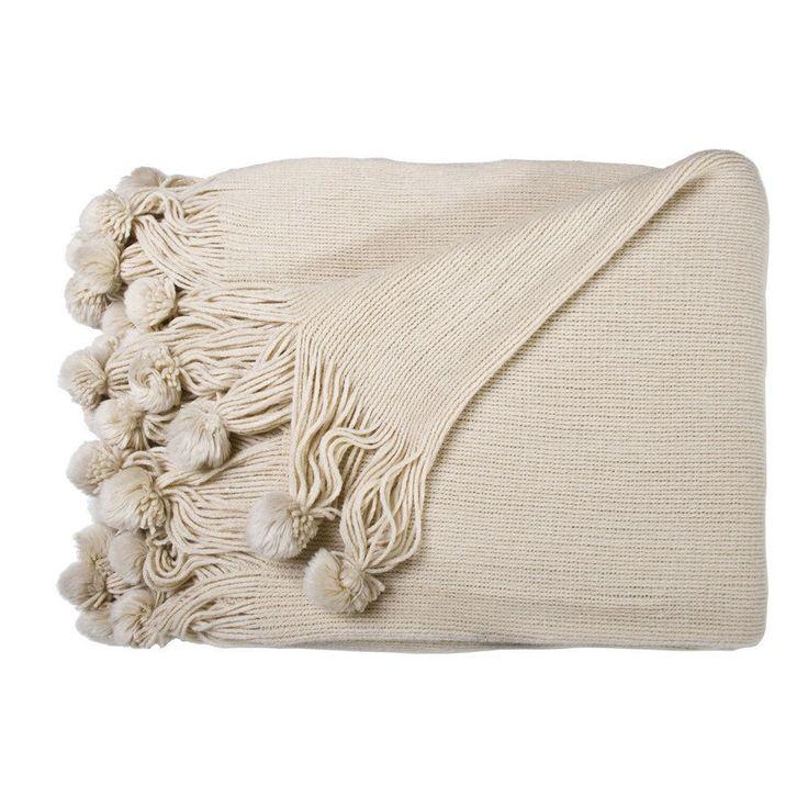 Pom Pom Throw - Linen