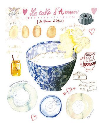 Blue kitchen decor - Love cake recipe poster - Food print - Bakery art - Watercolor painting