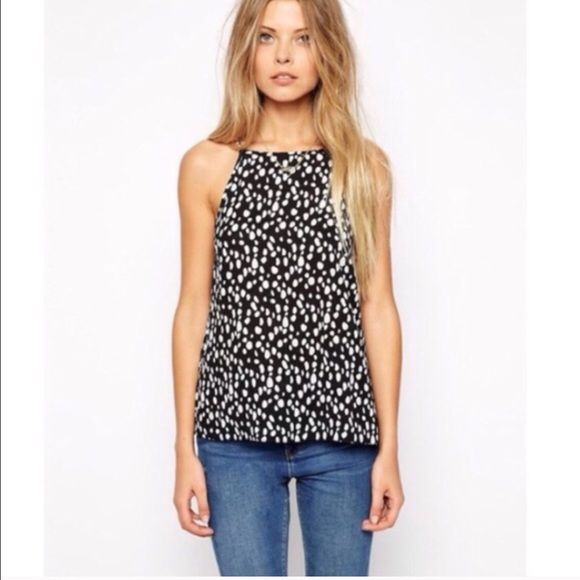 New ASOS High Neck Cami Navy Polka Dot Print 6 New ASOS High Neck Cami   ASOS NAVY and white polka dot print. 100% polyester. Lightweight and very flattering! Size U.S. 6 ASOS Tops Camisoles