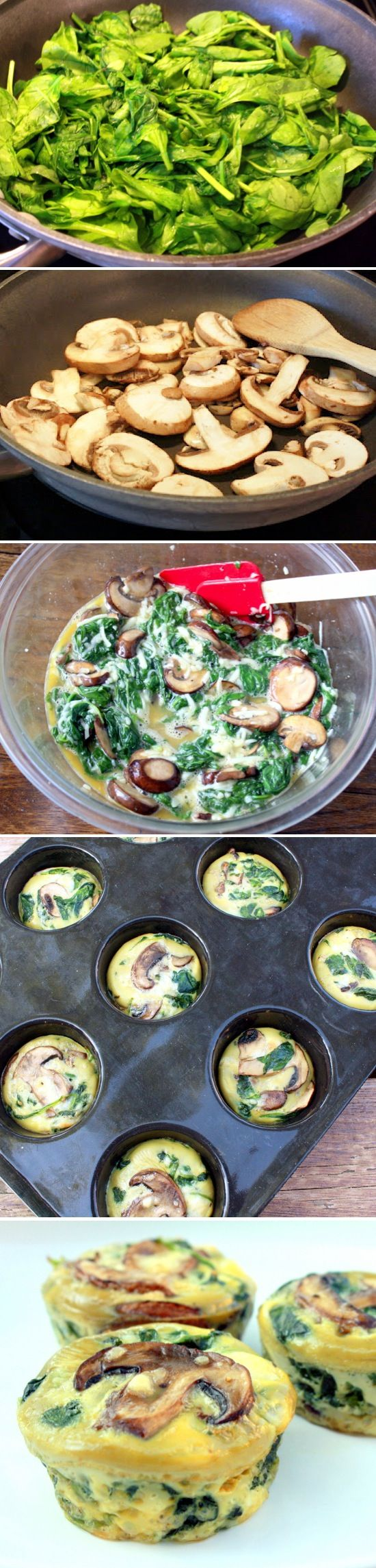 Spinach Quiche Cups: 10oz spinach, mushrooms, 4-5 eggs, 1 cup shredded cheese. 375 for 20-23 min