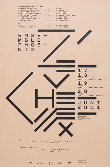 Ensemble Phœnix / Z'ev / Antoine ChessexDesign: Marco PapiroScreen print, 430 × 650 mm