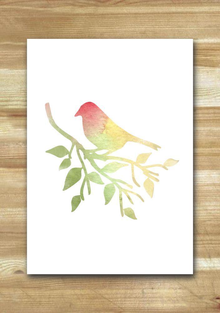 Uccello/Bird soft colors -stampa da acquerello - print from original watercolor