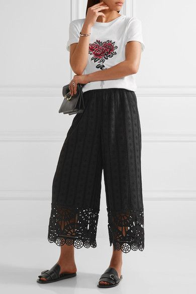 Opening Ceremony - Cropped Broderie Anglaise Cotton Wide-leg Pants - Black - x small