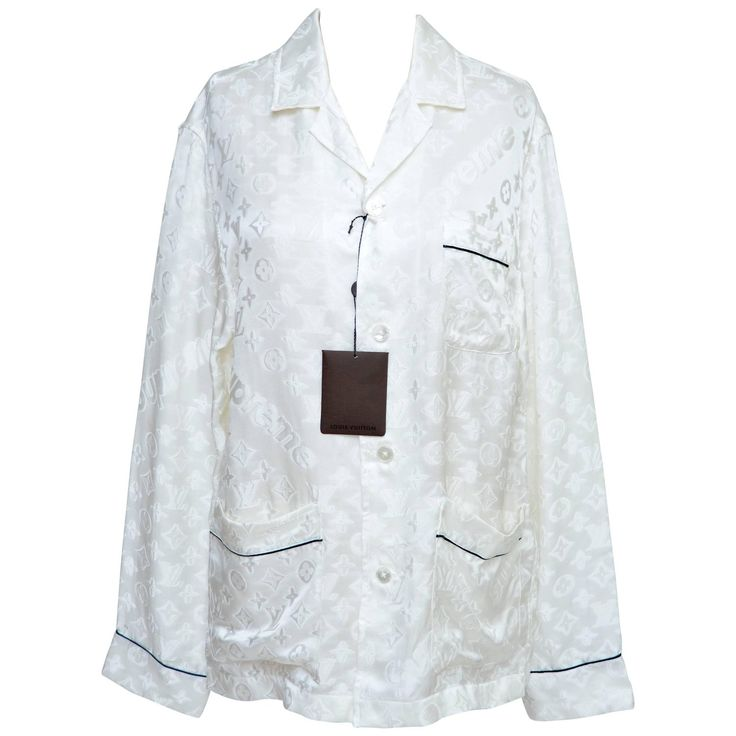 Louis Vuitton x Supreme Off White Pajama Shirt Seen On Celine Dion New S   From a collection of rare vintage shirts at https://www.1stdibs.com/fashion/clothing/shirts/
