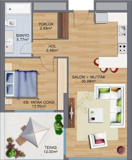 1 + 1 daire kat planı