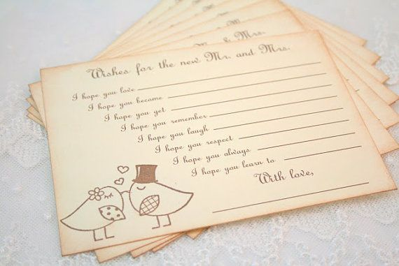 Guest book Alternative Wedding Wish Cards Fill in the Blank Wishes Bird Couple on Etsy, $13.50
