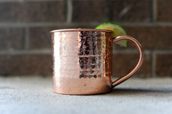 Hammered copper Moscow Mule mug 14 oz size by CustomCopperMugs, $18.95