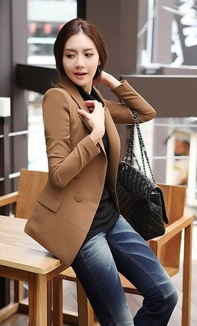 Casual Lapel Double Breasted Good Cut Acrylic Spring Blazer For Women (KHAKI,XL) China Wholesale - Sammydress.com