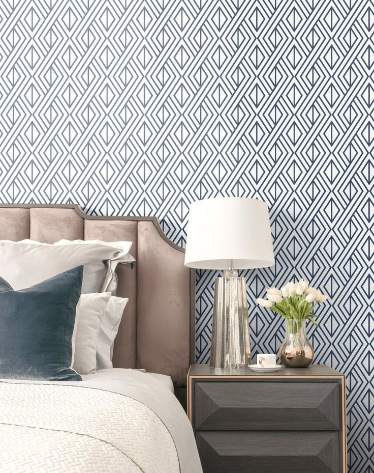 Diamond Geometric Peel And Stick Wallpaper In Navy By Nextwall In 2020 Home Decor Decor Peel And Stick Wallpaper