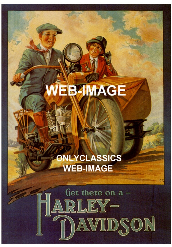 Image detail for -... advertising poster harley davidson v twin motorcycle sidecar poster