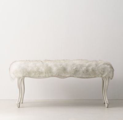 RH TEEN's Sophie Faux Fur Bench:A classic Louis XV silhouette is given an extra dose of glamour when upholstered in faux fur. The comfortable frame features a gracefully carved apron and cabriole legs.