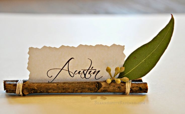 Creative name cards for your holiday table can be easy and lovely for visitors