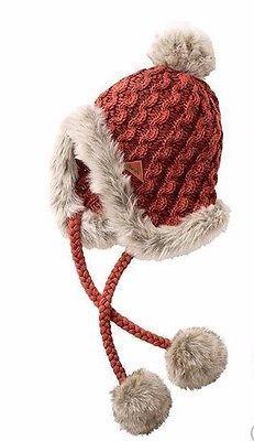 Bench HOUGH Damen Wintermütze Mütze Inka Zöpfe Fell Bommel Rot-Braun Onesize